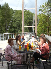 Tables are available for picnics on the suspension bridge